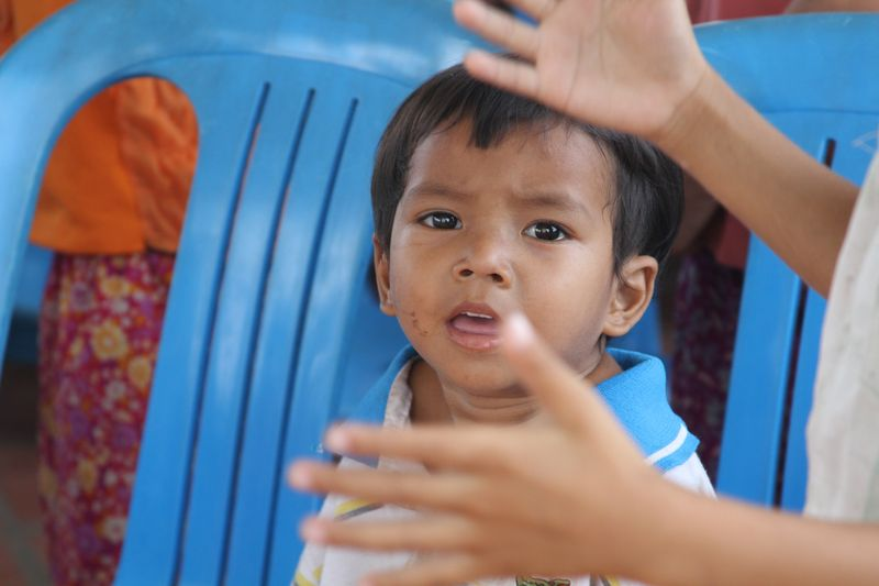 Cambodian child afraid