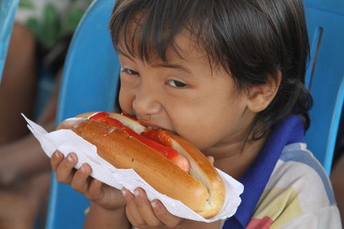 Cambodia girl eating